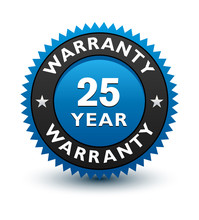Blue Simple Yet Reliable, Medal, Label, Icon, Seal, Sign 25 Year Warranty Badge Isolated On White Background.