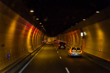 Motorway With Cars Driving Through A Tunnel, France