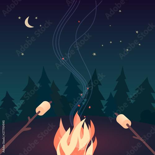 Obraz Marshmallow roasting hand drawn flat color vector - fototapety do salonu