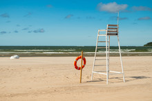 Lifeguard Tower And Lifering On Beautiful Sandy Beach Yyteri At Summer, In Pori, Finland