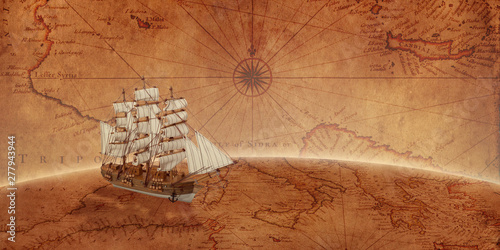 Wall Murals Ship Old sailing ship on an old world map. Concept of sea adventure expedition.