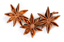 Star Anise. Three Star Anise Fruits. Macro Close Up Isolated On White Background With Shadow, Top View Of Chinese Badiane Spice Or Illicium Verum.
