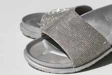Silver Slippers With Rhineston...