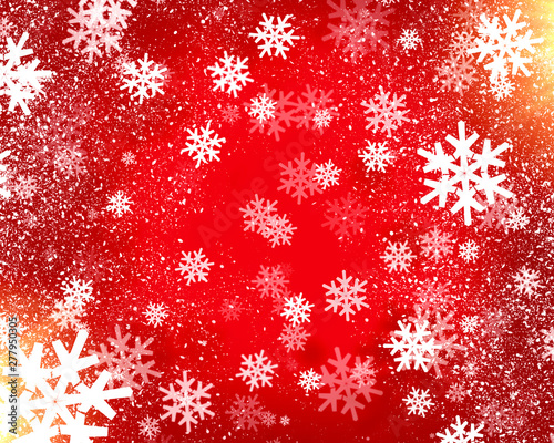 Foto auf Leinwand Rot background with beautiful snowflakes for new year and christmas