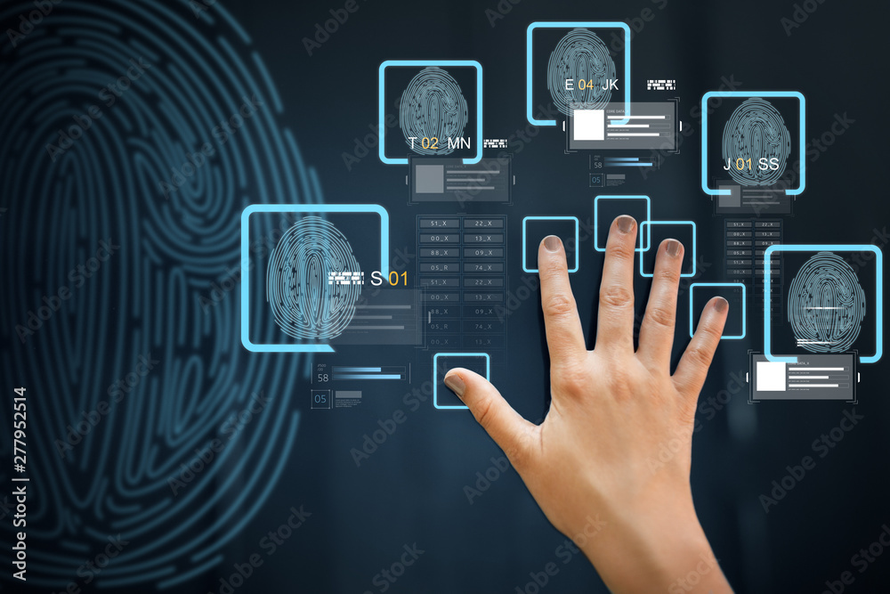 Fototapety, obrazy: future technology, security and identification concept - hand using interactive panel touch screen with fingerprint scanning system