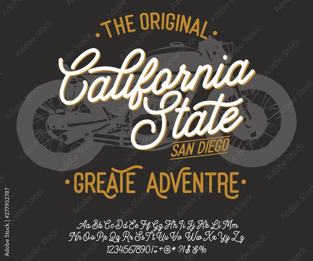 Fototapeta California. Vintage script font. Handmade font. Retro Typeface. Vector font illustration.