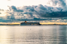 Cruise Ferry In The Baltic Sea By The Harbor Of Tallinn