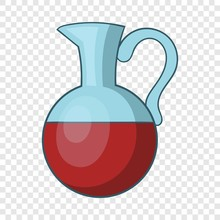 Glass Jug Of Wine Icon. Cartoo...