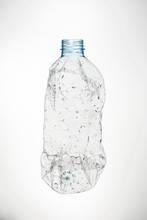 Used Water Bottle And White Background