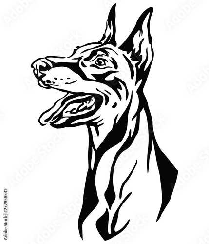 Cuadros en Lienzo Decorative portrait of Dobermann vector illustration