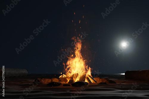 Obraz Lagerfeuer am Strand im Mondscheinlicht. 3D Rendering - fototapety do salonu