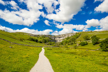 A Path To Malham Cove Yorkshire Dales National Park Tourist Attraction, England, UK