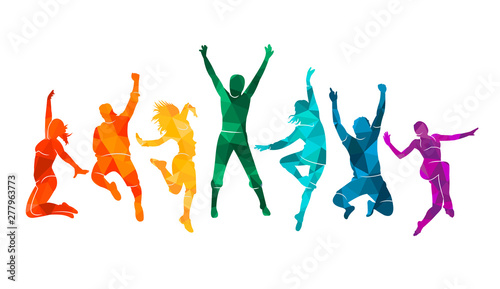Fotografie, Tablou  Colorful happy group people jump vector illustration silhouette