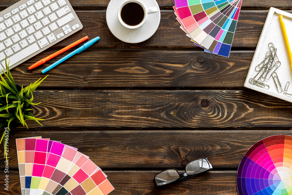 Fototapety, obrazy: Work space of designer with instruments, pallet, keyboard, glasses and coffee wooden background top view space for text