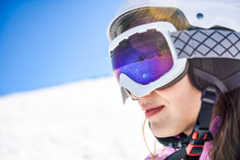 Snowy Landscape Reflected In Ski Goggles Of A Woman, Sierra Nevada, Andalusia, Spain