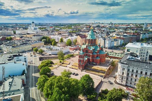 Scenic aerial view of Uspenski Cathedral in Helsinki Wallpaper Mural