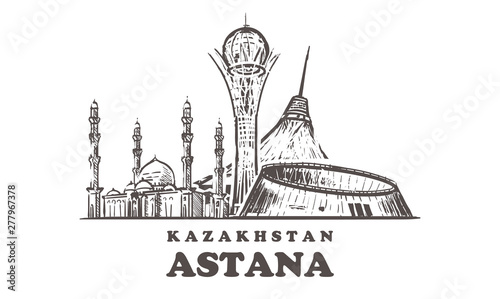 Photo Astana sketch skyline