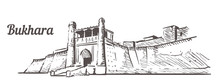 Ark Citadel In Bukhara Sketch. Bukhara Sketch Hand Drawn Illustration. Isolated On White Background.