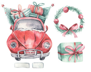 Watercolor christmas holida...