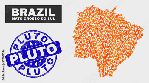 Fotografija  Vector composition of wildfire Mato Grosso do Sul State map and blue round textured Pluto stamp