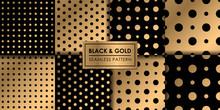 Black And Gold Luxury Polkadot...