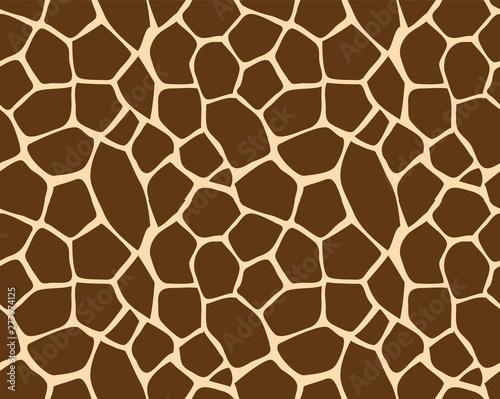 Fototapeta Vector seamless pattern of brown and yellow giraffe fur skin print