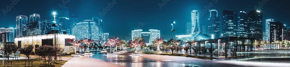 Night Scenery of Urban Architectural Landscape in Hangzhou..