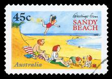 AUSTRALIA - CIRCA 1996: A Stamp Printed In Australia Shows Greetings From Sandy Beach, Circa 1996.
