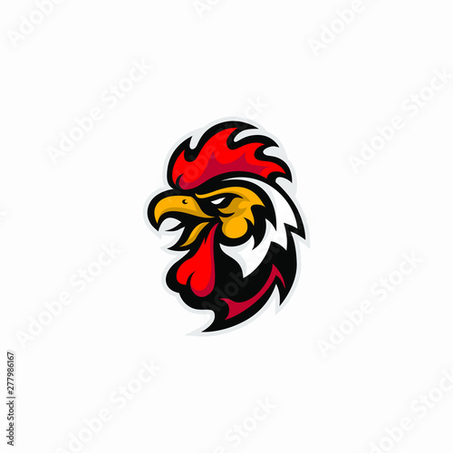 Fotografie, Tablou  Creative and Strong Brand Rooster Cock Vector Logo