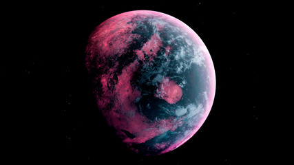 Alien Planet in the outer space. 3d rendering