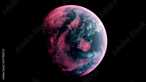 Fototapeta Alien Planet in the outer space. 3d rendering