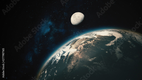 Fototapety, obrazy: Space View From Earth To Moon