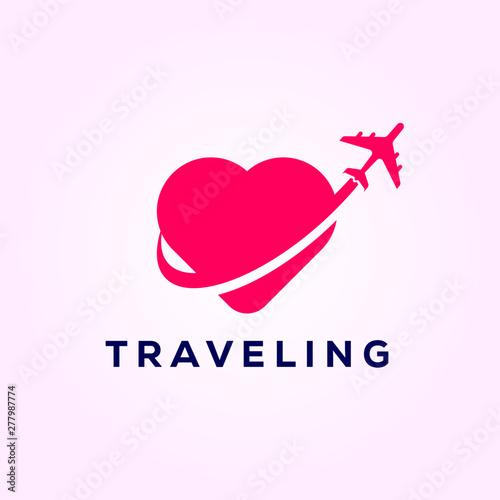 Fotografie, Obraz  airplane symbol of travet with love , travel logo designs