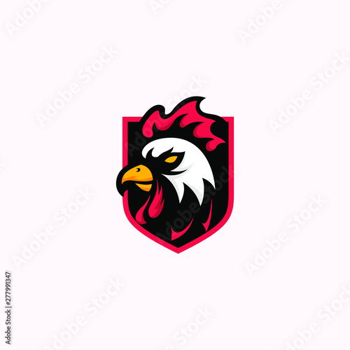 Powerful Brand Rooster Vector Mascot Logo Emblem Tablou Canvas