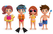 Summer Kids Vector Characters ...