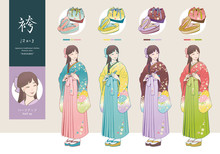 袴姿の女性と、草履・...