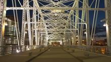 Shot Walking Across Shelby St Bridge In Nashville, Tennesse