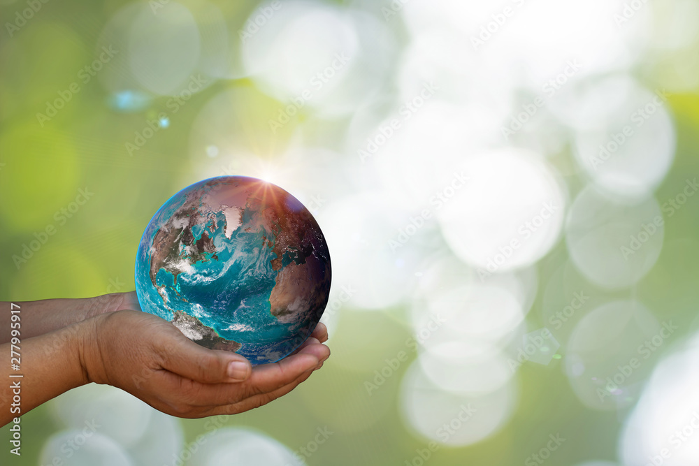 Fototapeta Earth was holding in human hands on blurred. World environment day and green earth. Energy saving environment nature conservation concept. Elements of this image furnished by NASA