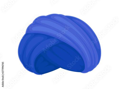 Fotografía Blue turban. Vector illustration on white background.