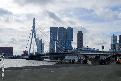 Foto auf Acrylglas Schwan Rotterdam, South Holland, The Netherlands - May 5 2019: Archirecture of the city on the streets, Holland
