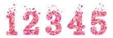 Set Of Valentines Day Colorful Decorative Hearts Confetti Numbers. Isolated On White Background. EPS 10