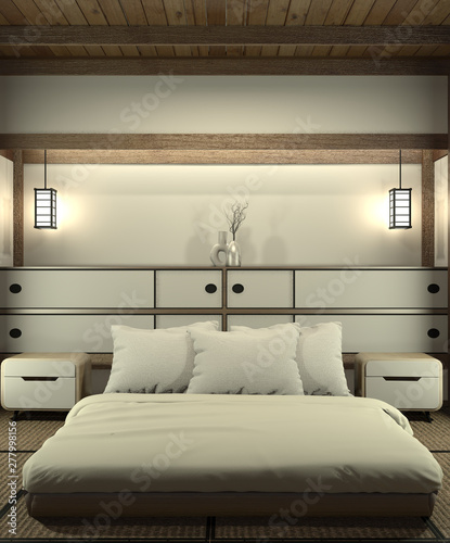Bedroom modern zen interior design with decoration japanese