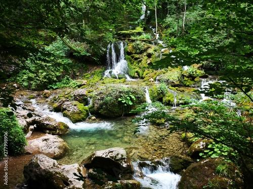Foto op Plexiglas Bos rivier wilder Wasserfall in den Alpen