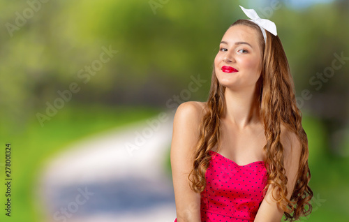 Fotografie, Obraz Woman close up portrait of natural beauty