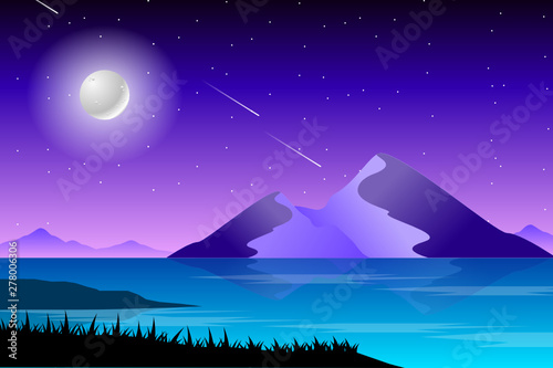 Poster Violet Night landscape with colorful sky and sea illustration