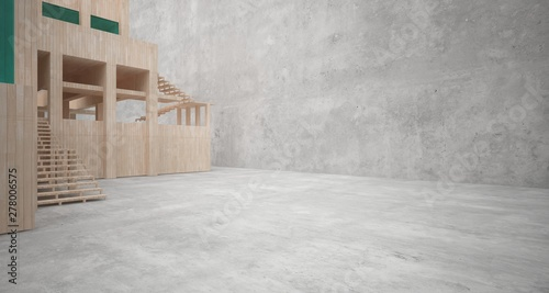 Fototapeta Abstract architectural concrete, wood and glass interior of a minimalist house. 3D illustration and rendering. obraz na płótnie
