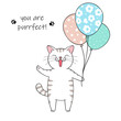 Cute cartoon cat holding a balloons. Hand drawn illustration for birthday greeting card