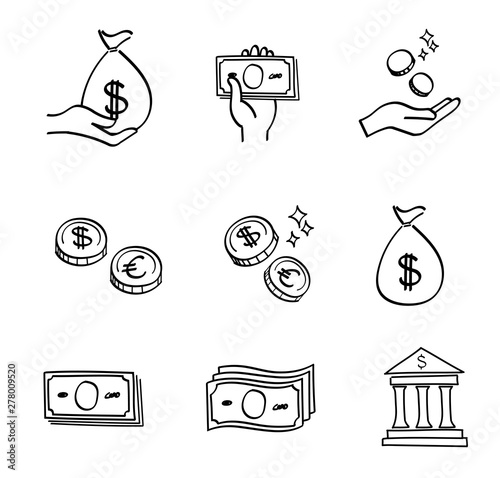 Money icon set - hand drawn style Slika na platnu