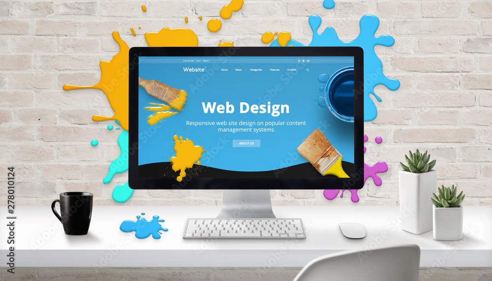 Obraz Web design concept. Modern web site on computer display surrounded by brush color drops. fototapeta, plakat