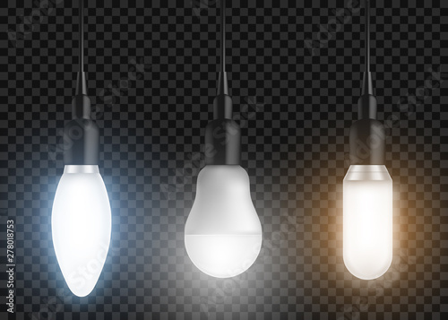 Obraz Led bulbs set. Glowing lamps, incandescent modern halogen lightbulbs of different shapes, forms hanging from above, light equipment isolated on transparent background. Realistic 3d vector illustration - fototapety do salonu